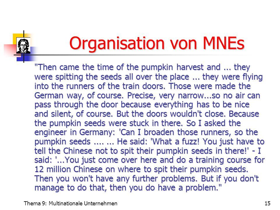 Thema 9: Multinationale Unternehmen15 Organisation von MNEs Organisation von MNEs Then came the time of the pumpkin harvest and...