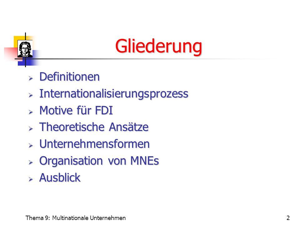 Thema 9: Multinationale Unternehmen2 Gliederung  Definitionen  Internationalisierungsprozess  Motive für FDI  Theoretische Ansätze  Unternehmensformen  Organisation von MNEs  Ausblick