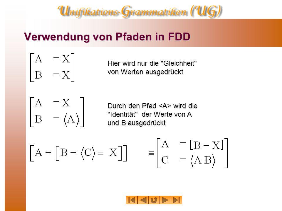 Verwendung von Pfaden in FDD Hier wird nur die Gleichheit von Werten ausgedrückt Durch den Pfad wird die Identität der Werte von A und B ausgedrückt
