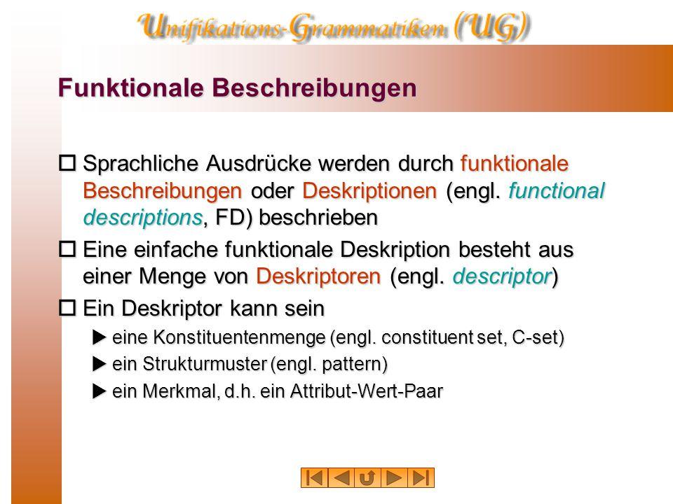 Funktionale Beschreibungen  Sprachliche Ausdrücke werden durch funktionale Beschreibungen oder Deskriptionen (engl.