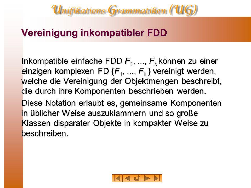 Vereinigung inkompatibler FDD Inkompatible einfache FDD F 1,..., F k können zu einer einzigen komplexen FD {F 1,..., F k } vereinigt werden, welche die Vereinigung der Objektmengen beschreibt, die durch ihre Komponenten beschrieben werden.