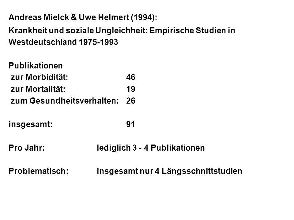 Andreas Mielck & Uwe Helmert (1994): Krankheit und soziale Ungleichheit: Empirische Studien in Westdeutschland 1975-1993 Publikationen zur Morbidität:
