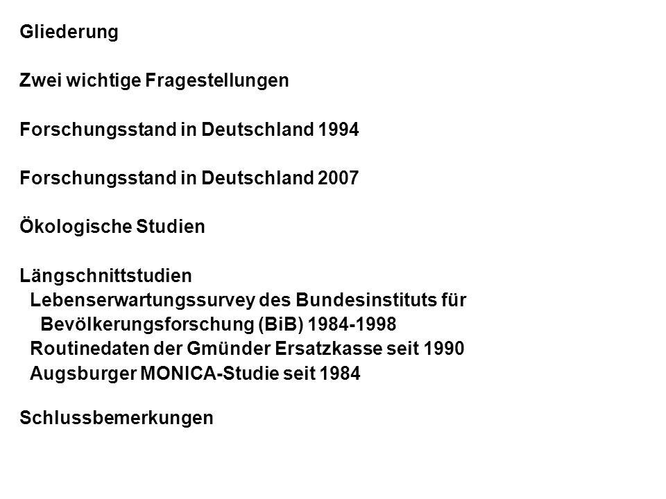 Gliederung Zwei wichtige Fragestellungen Forschungsstand in Deutschland 1994 Forschungsstand in Deutschland 2007 Ökologische Studien Längschnittstudie