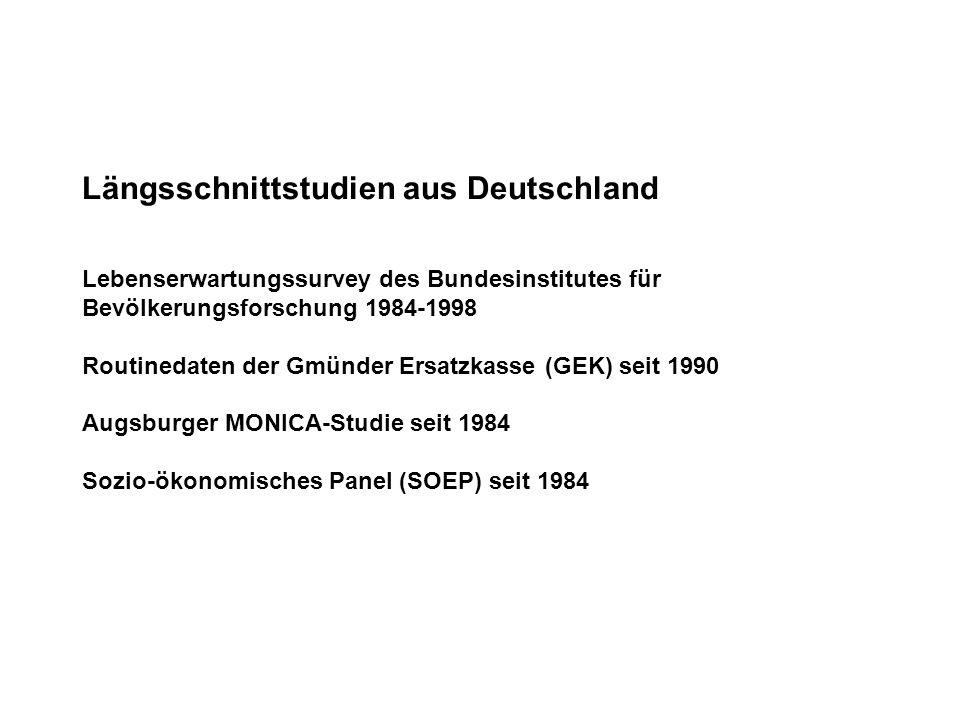 Längsschnittstudien aus Deutschland Lebenserwartungssurvey des Bundesinstitutes für Bevölkerungsforschung 1984-1998 Routinedaten der Gmünder Ersatzkas