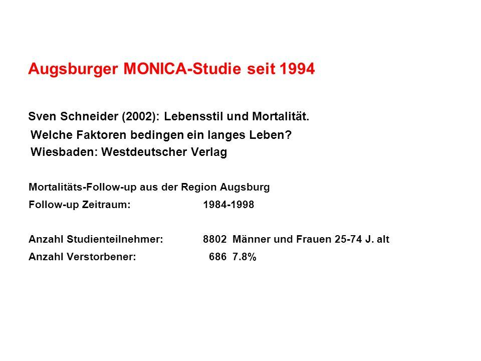 Augsburger MONICA-Studie seit 1994 Sven Schneider (2002): Lebensstil und Mortalität. Welche Faktoren bedingen ein langes Leben? Wiesbaden: Westdeutsch