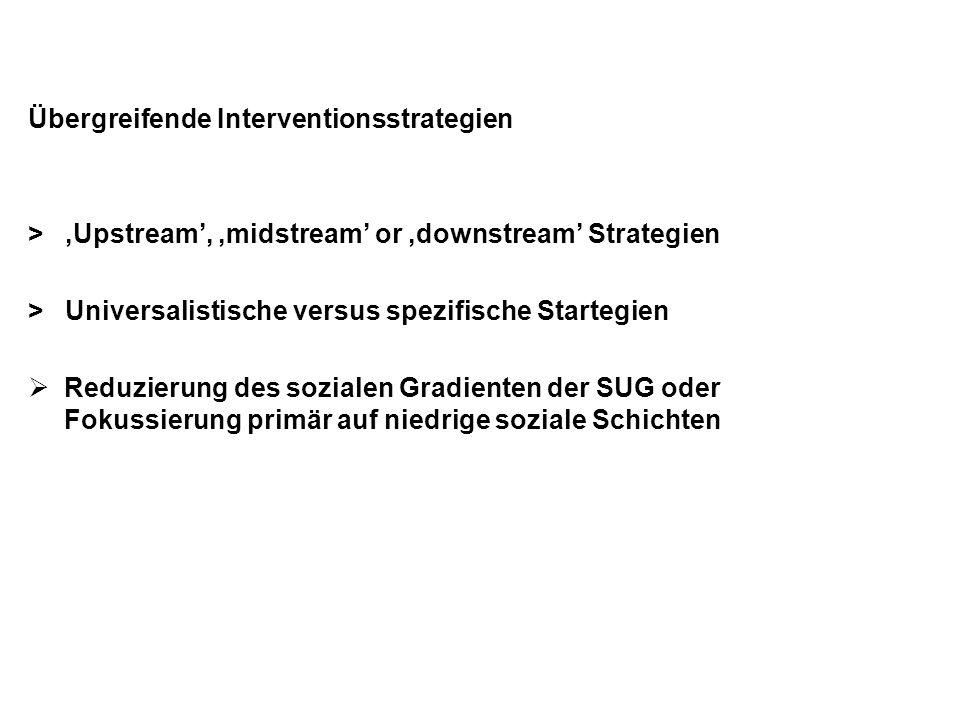 Übergreifende Interventionsstrategien > 'Upstream', 'midstream' or 'downstream' Strategien > Universalistische versus spezifische Startegien  Reduzie