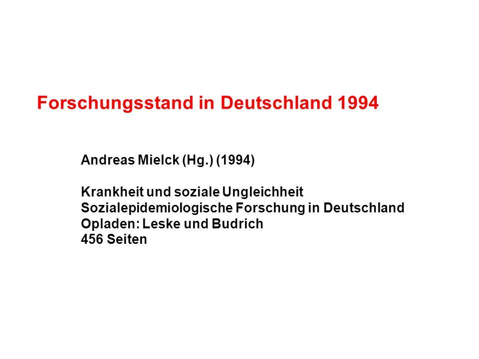Forschungsstand in Deutschland 1994 Andreas Mielck (Hg.) (1994) Krankheit und soziale Ungleichheit Sozialepidemiologische Forschung in Deutschland Opl