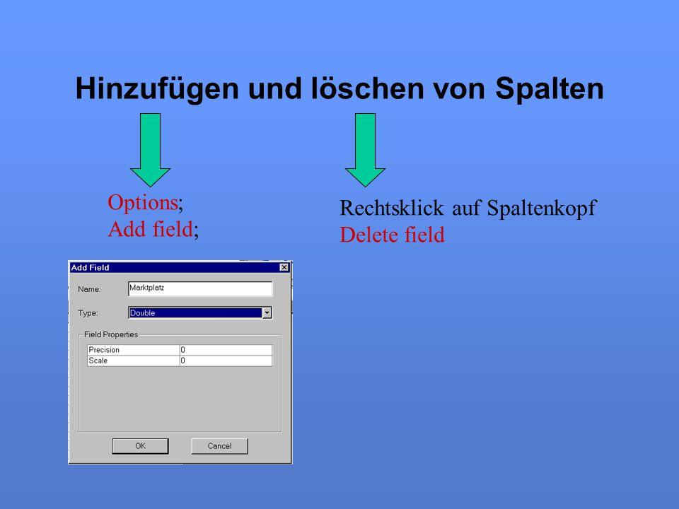 Hinzufügen und löschen von Spalten Options; Add field; Rechtsklick auf Spaltenkopf Delete field