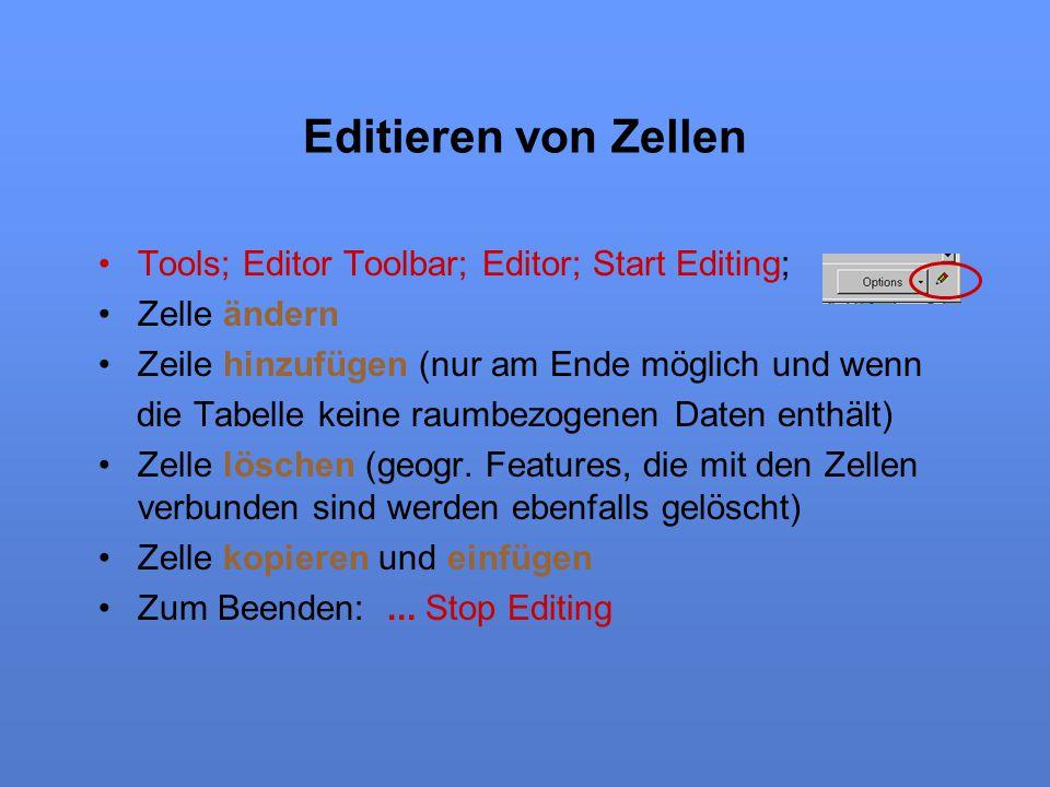 Editieren von Zellen Tools; Editor Toolbar; Editor; Start Editing; Zelle ändern Zeile hinzufügen (nur am Ende möglich und wenn die Tabelle keine raumb