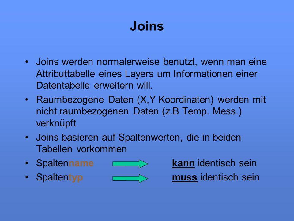 Joins Joins werden normalerweise benutzt, wenn man eine Attributtabelle eines Layers um Informationen einer Datentabelle erweitern will. Raumbezogene