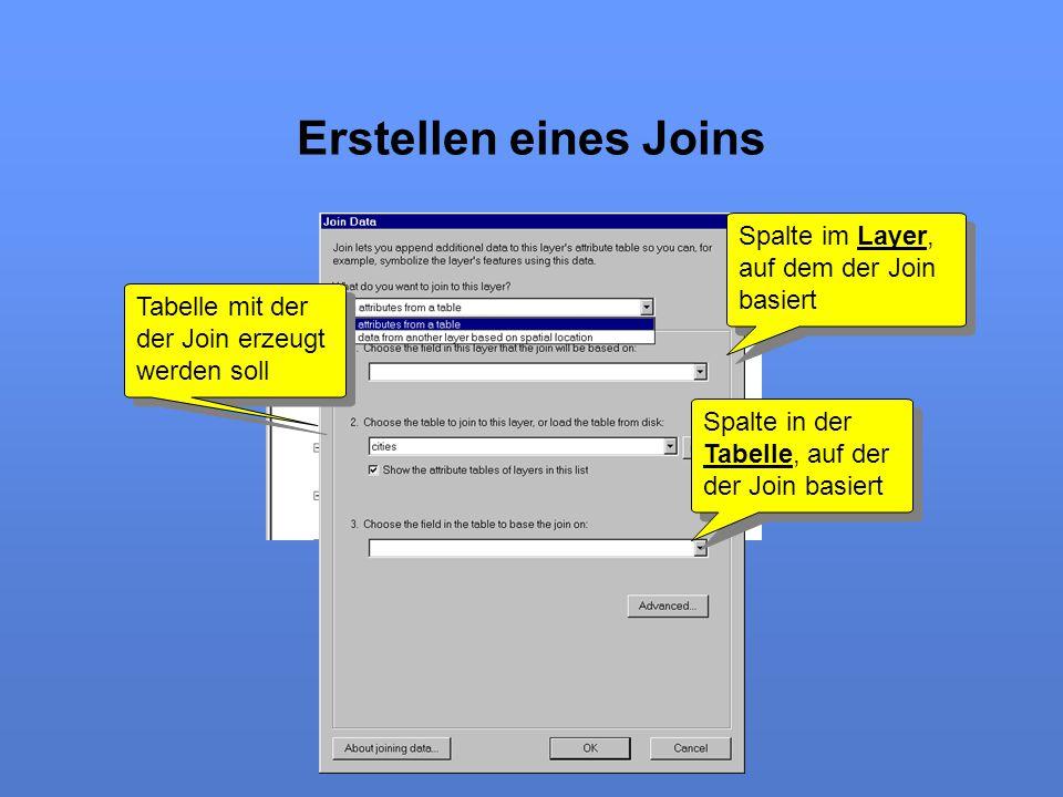 Erstellen eines Joins Spalte im Layer, auf dem der Join basiert Tabelle mit der der Join erzeugt werden soll Spalte in der Tabelle, auf der der Join b