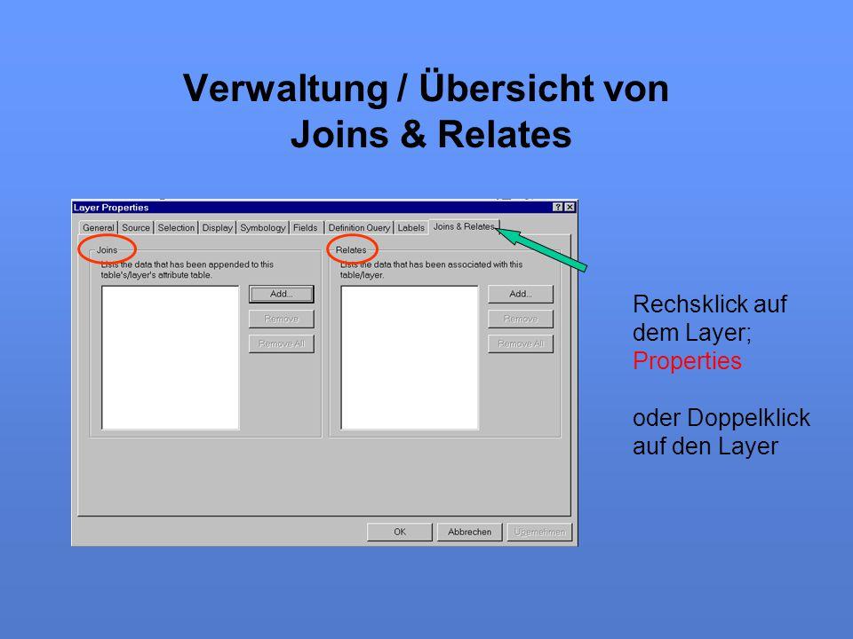 Verwaltung / Übersicht von Joins & Relates Rechsklick auf dem Layer; Properties oder Doppelklick auf den Layer