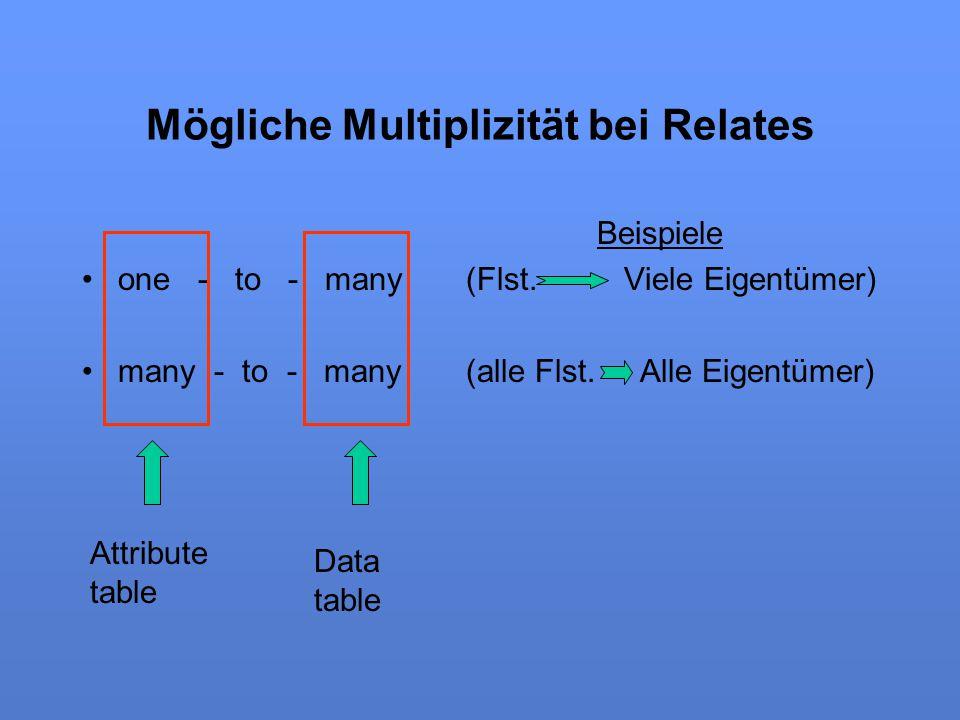Mögliche Multiplizität bei Relates Beispiele one - to - many(Flst. Viele Eigentümer) many - to - many(alle Flst. Alle Eigentümer) Attribute table Data