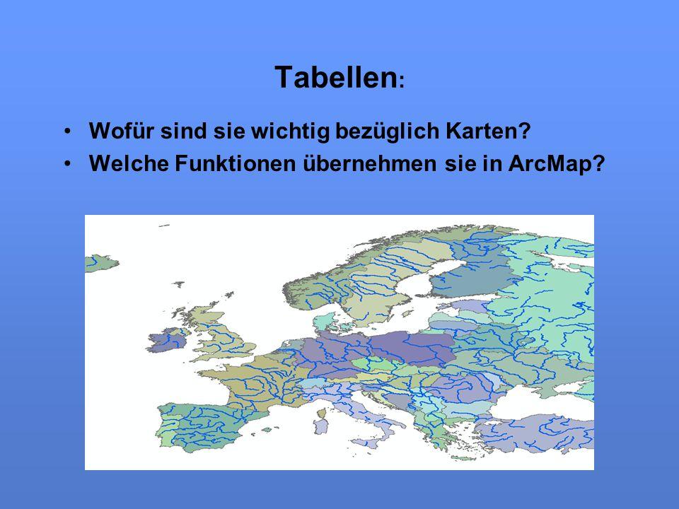 Tabellen : Wofür sind sie wichtig bezüglich Karten? Welche Funktionen übernehmen sie in ArcMap?