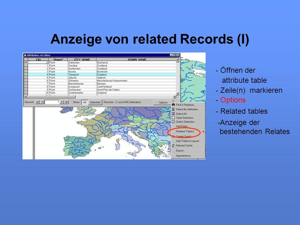 Anzeige von related Records (I) - Öffnen der attribute table - Zeile(n) markieren - Options - Related tables -Anzeige der bestehenden Relates