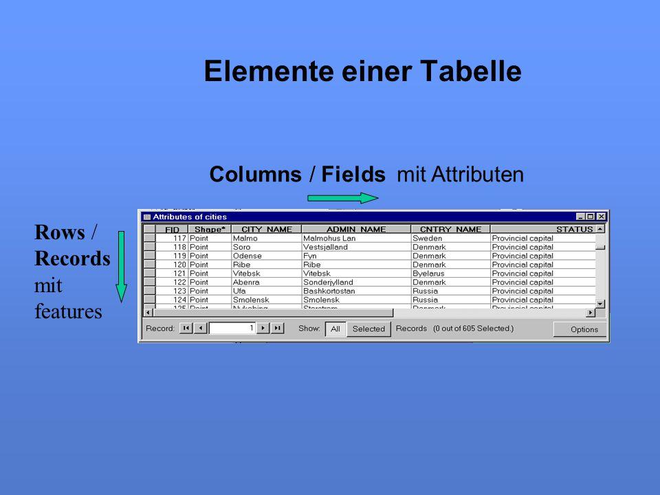 Elemente einer Tabelle Columns / Fields mit Attributen Rows / Records mit features