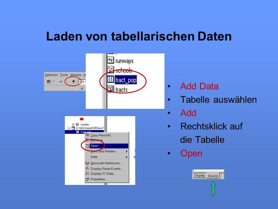 Laden von tabellarischen Daten Add Data Tabelle auswählen Add Rechtsklick auf die Tabelle Open