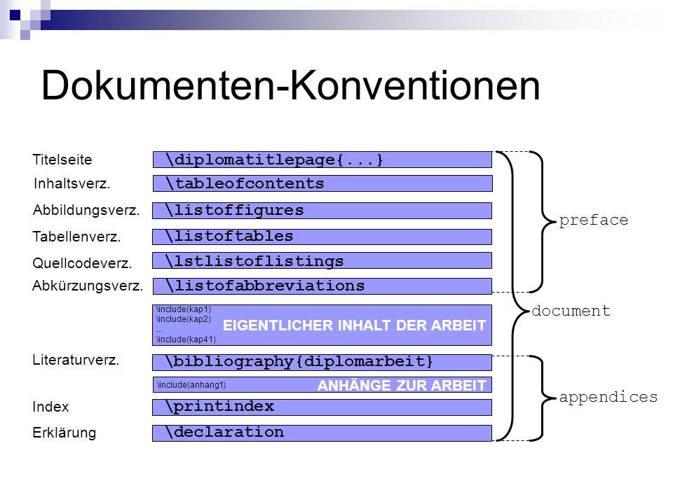 Dokumenten-Konventionen Titelseite \diplomatitlepage{...} \listoffigures Abbildungsverz. \listoftables Tabellenverz. \lstlistoflistings Quellcodeverz.