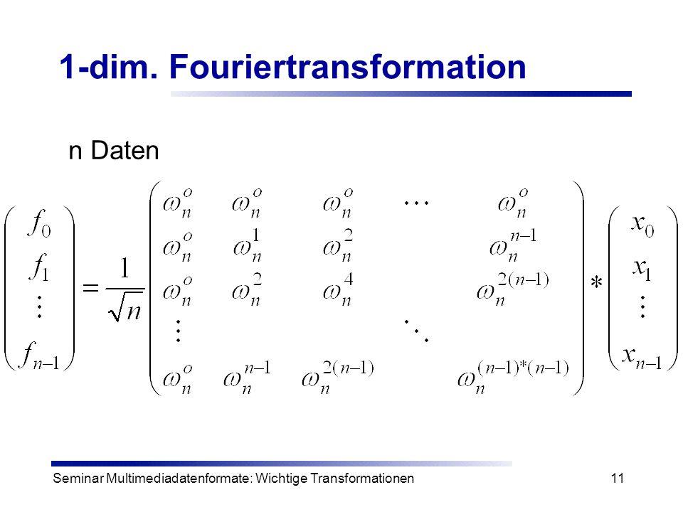 Seminar Multimediadatenformate: Wichtige Transformationen11 1-dim. Fouriertransformation n Daten