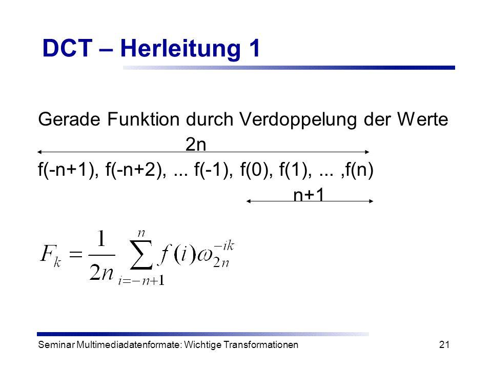 Seminar Multimediadatenformate: Wichtige Transformationen21 DCT – Herleitung 1 Gerade Funktion durch Verdoppelung der Werte 2n f(-n+1), f(-n+2),... f(