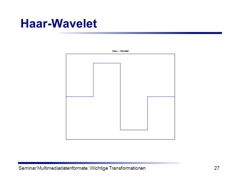Seminar Multimediadatenformate: Wichtige Transformationen27 Haar-Wavelet