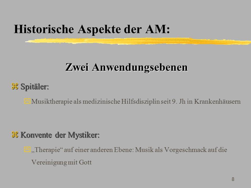 9 Historische Aspekte der AM: Entwicklung unterschiedlicher Methoden zSpitäler: yZ.B.