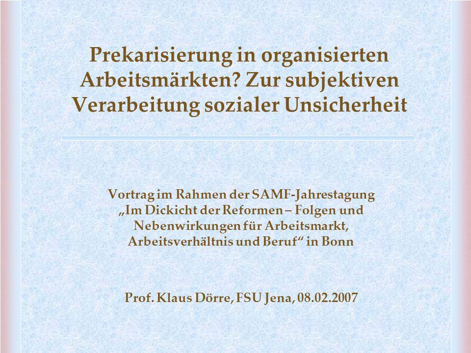 """Prekarisierung in organisierten Arbeitsmärkten? Zur subjektiven Verarbeitung sozialer Unsicherheit Vortrag im Rahmen der SAMF-Jahrestagung """"Im Dickich"""
