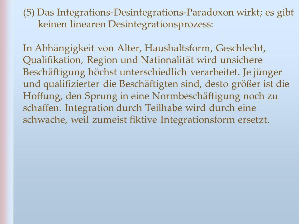 (5) Das Integrations-Desintegrations-Paradoxon wirkt; es gibt keinen linearen Desintegrationsprozess: In Abhängigkeit von Alter, Haushaltsform, Geschl