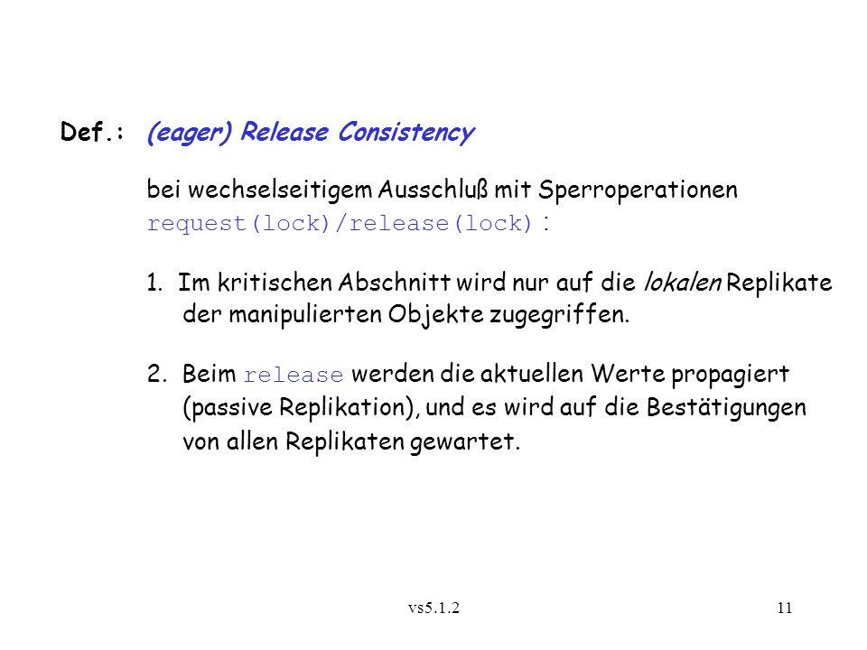 vs5.1.211 Def.:(eager) Release Consistency bei wechselseitigem Ausschluß mit Sperroperationen request(lock)/release(lock) : 1. Im kritischen Abschnitt