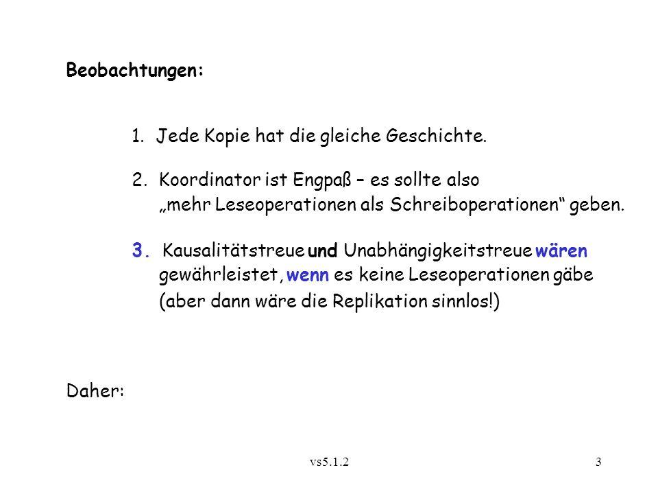 vs5.1.24 Modifiziertes Verfahren (Tanenbaum 1995): Durchnumerierung der Versionen des Objekts mit Rundrufzähler des Koordinators Jede Station merkt sich die höchste Versionsnummer, von der sie Kenntnis hat, als lokal aktuelle Versionsnummer a Aktuelle Versionsnummer wird mit jeder Nachricht, die nicht an den Koordinator geht, als Nummer v mitgeschickt Ein Server (außer dem Koordinator), der von einem Klienten eine Nachricht (= Lesewunsch) mit v > a erhält, bearbeitet die Nachricht erst dann, wenn er vom Koordinator eine Nachricht mit der Nummer v erhalten und bearbeitet hat Bemerkung: Versionsnummer = Logische Uhr des Objekts
