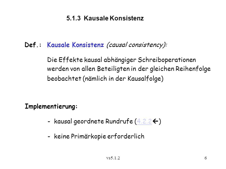 vs5.1.26 5.1.3 Kausale Konsistenz Def.:Kausale Konsistenz (causal consistency): Die Effekte kausal abhängiger Schreiboperationen werden von allen Beteiligten in der gleichen Reihenfolge beobachtet (nämlich in der Kausalfolge) Implementierung: - kausal geordnete Rundrufe (4.2.2  )4.2.2 - keine Primärkopie erforderlich