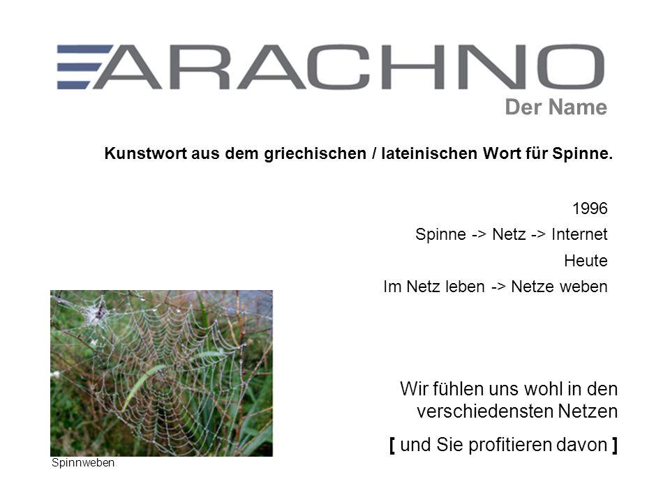 Der Name Wir fühlen uns wohl in den verschiedensten Netzen [ und Sie profitieren davon ] 1996 Spinne -> Netz -> Internet Heute Im Netz leben -> Netze weben Spinnweben Kunstwort aus dem griechischen / lateinischen Wort für Spinne.