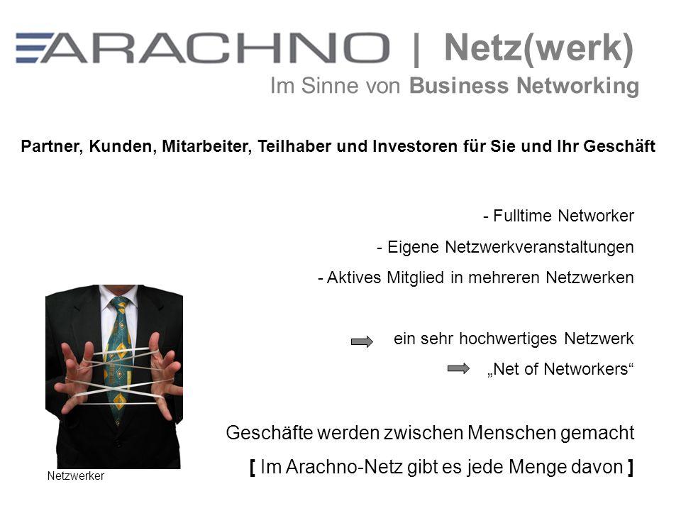 | Netz(werk) Im Sinne von Business Networking - Fulltime Networker - Eigene Netzwerkveranstaltungen - Aktives Mitglied in mehreren Netzwerken ein sehr