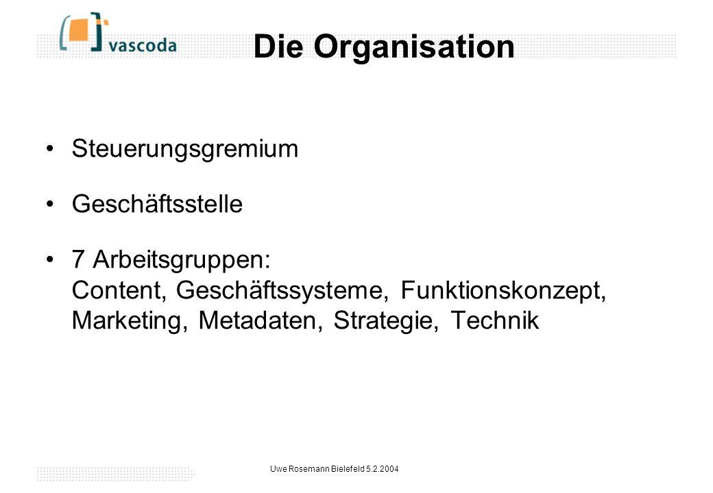 Uwe Rosemann Bielefeld 5.2.2004 Die Organisation Steuerungsgremium Geschäftsstelle 7 Arbeitsgruppen: Content, Geschäftssysteme, Funktionskonzept, Marketing, Metadaten, Strategie, Technik