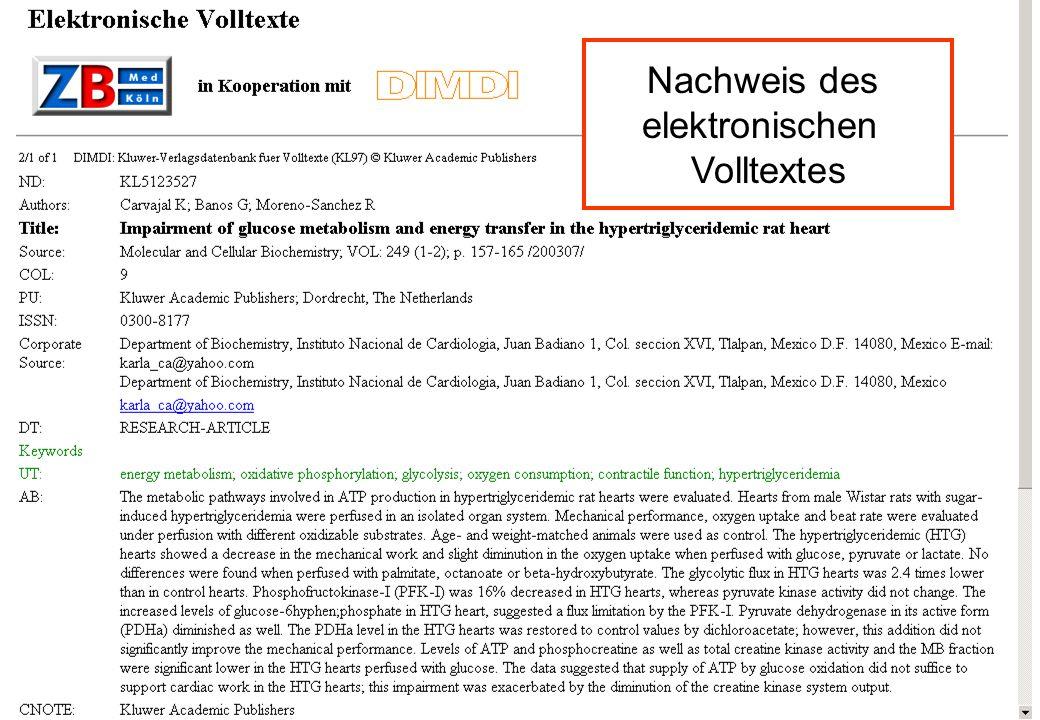 Uwe Rosemann Bielefeld 5.2.2004 Informationsverbund Medizin- Search Results Nachweis des elektronischen Volltextes