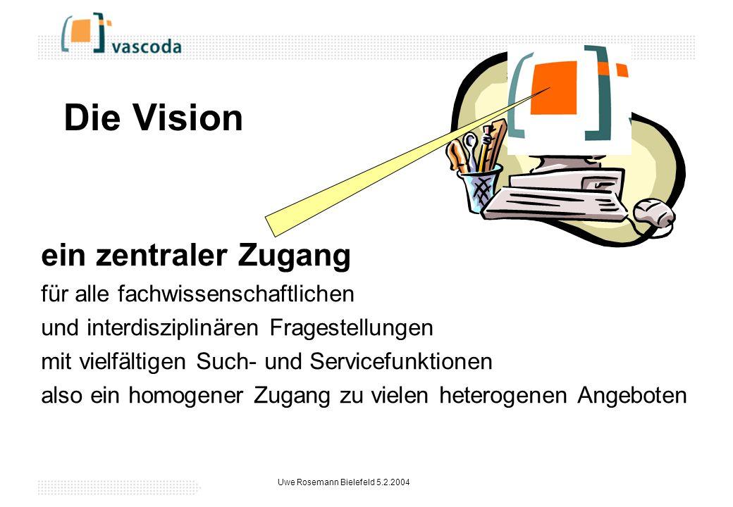 Uwe Rosemann Bielefeld 5.2.2004 Die Vision ein zentraler Zugang für alle fachwissenschaftlichen und interdisziplinären Fragestellungen mit vielfältigen Such- und Servicefunktionen also ein homogener Zugang zu vielen heterogenen Angeboten