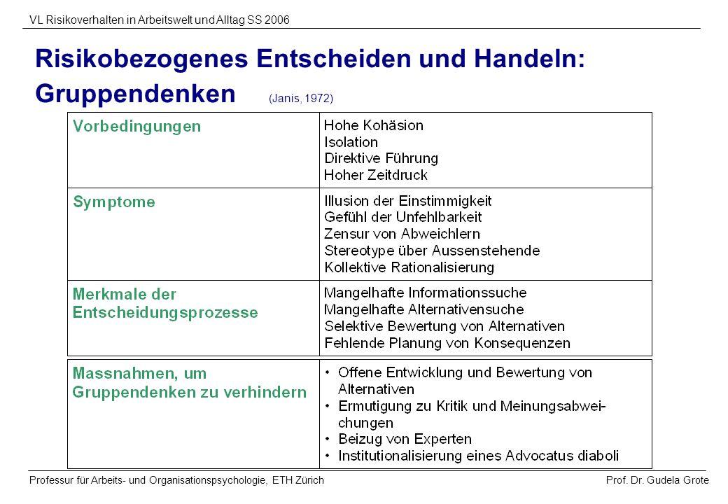 Prof. Dr. Gudela Grote VL Risikoverhalten in Arbeitswelt und Alltag SS 2006 Professur für Arbeits- und Organisationspsychologie, ETH Zürich Risikobezo
