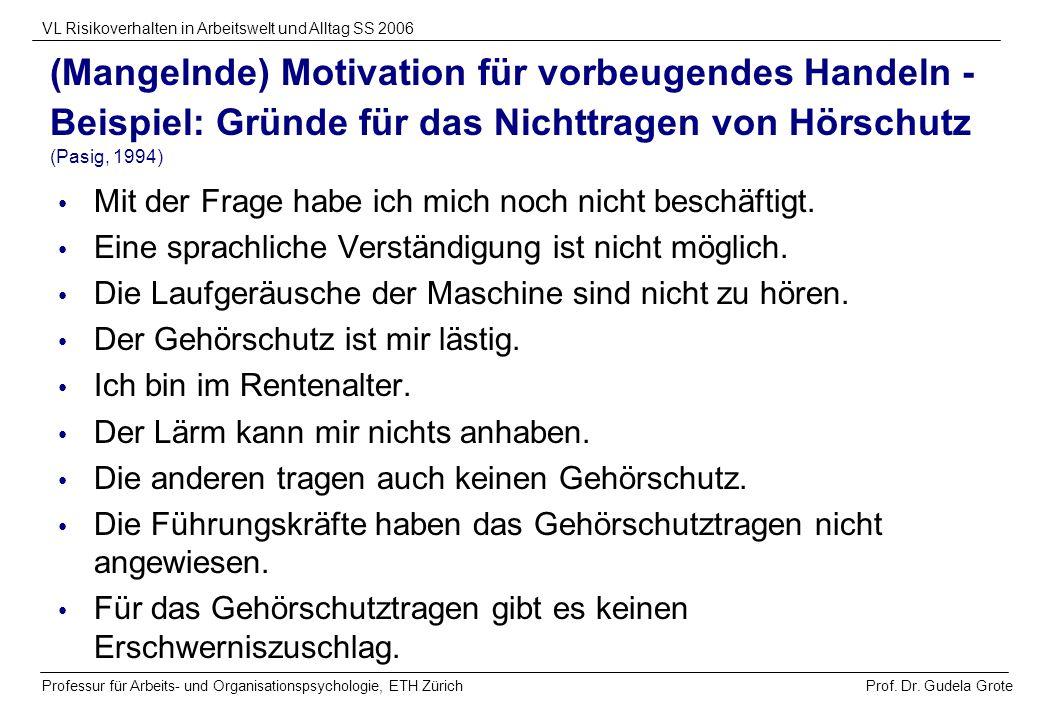 Prof. Dr. Gudela Grote VL Risikoverhalten in Arbeitswelt und Alltag SS 2006 Professur für Arbeits- und Organisationspsychologie, ETH Zürich (Mangelnde