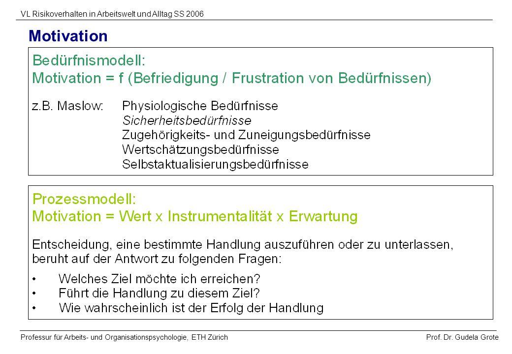 Prof. Dr. Gudela Grote VL Risikoverhalten in Arbeitswelt und Alltag SS 2006 Professur für Arbeits- und Organisationspsychologie, ETH Zürich Motivation