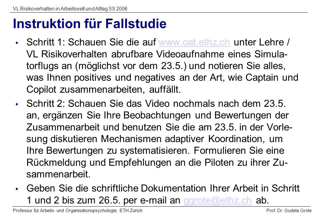 Prof. Dr. Gudela Grote VL Risikoverhalten in Arbeitswelt und Alltag SS 2006 Professur für Arbeits- und Organisationspsychologie, ETH Zürich Instruktio