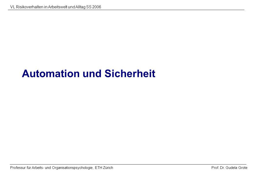 Prof. Dr. Gudela Grote VL Risikoverhalten in Arbeitswelt und Alltag SS 2006 Professur für Arbeits- und Organisationspsychologie, ETH Zürich Automation