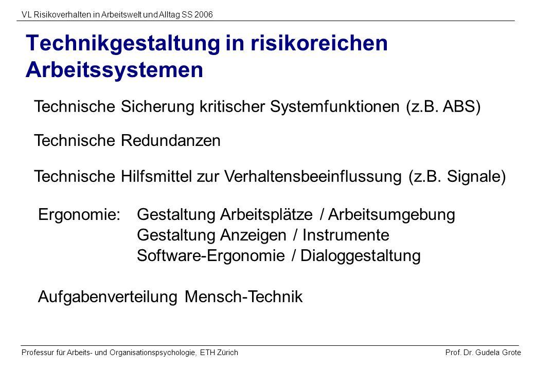 Prof. Dr. Gudela Grote VL Risikoverhalten in Arbeitswelt und Alltag SS 2006 Professur für Arbeits- und Organisationspsychologie, ETH Zürich Aufgabenve