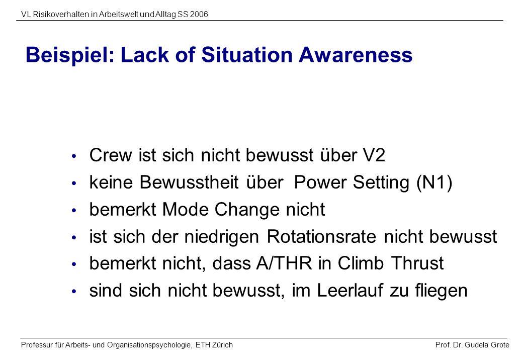 Prof. Dr. Gudela Grote VL Risikoverhalten in Arbeitswelt und Alltag SS 2006 Professur für Arbeits- und Organisationspsychologie, ETH Zürich Beispiel:
