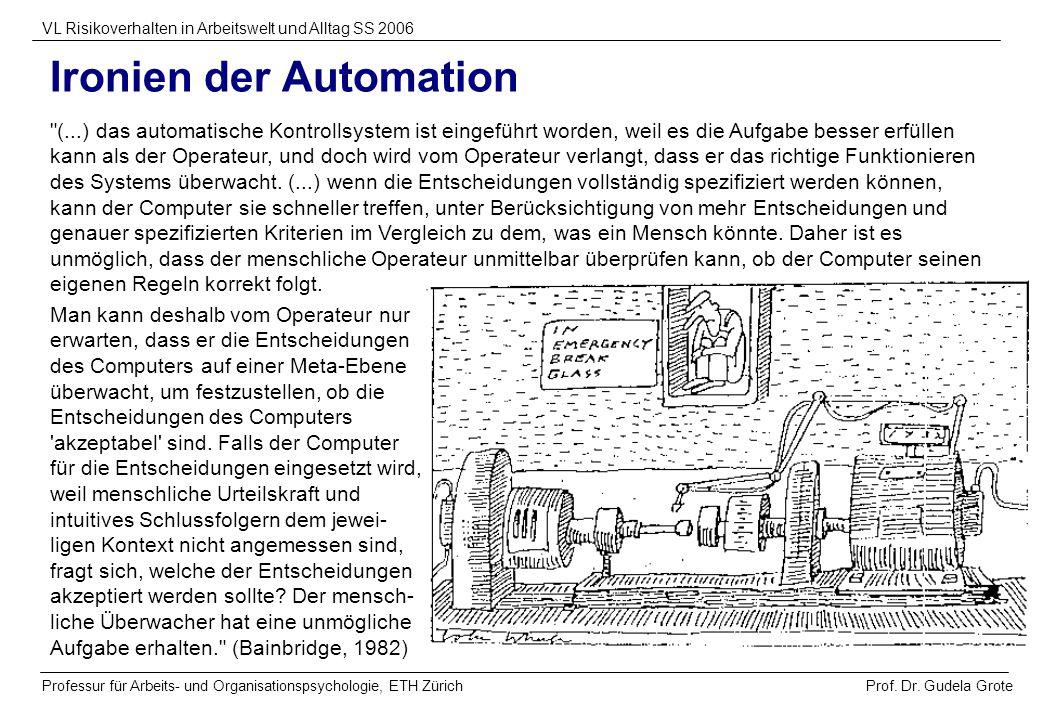 Prof. Dr. Gudela Grote VL Risikoverhalten in Arbeitswelt und Alltag SS 2006 Professur für Arbeits- und Organisationspsychologie, ETH Zürich