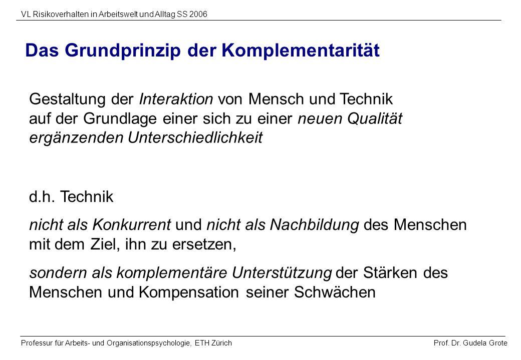Prof. Dr. Gudela Grote VL Risikoverhalten in Arbeitswelt und Alltag SS 2006 Professur für Arbeits- und Organisationspsychologie, ETH Zürich Das Grundp