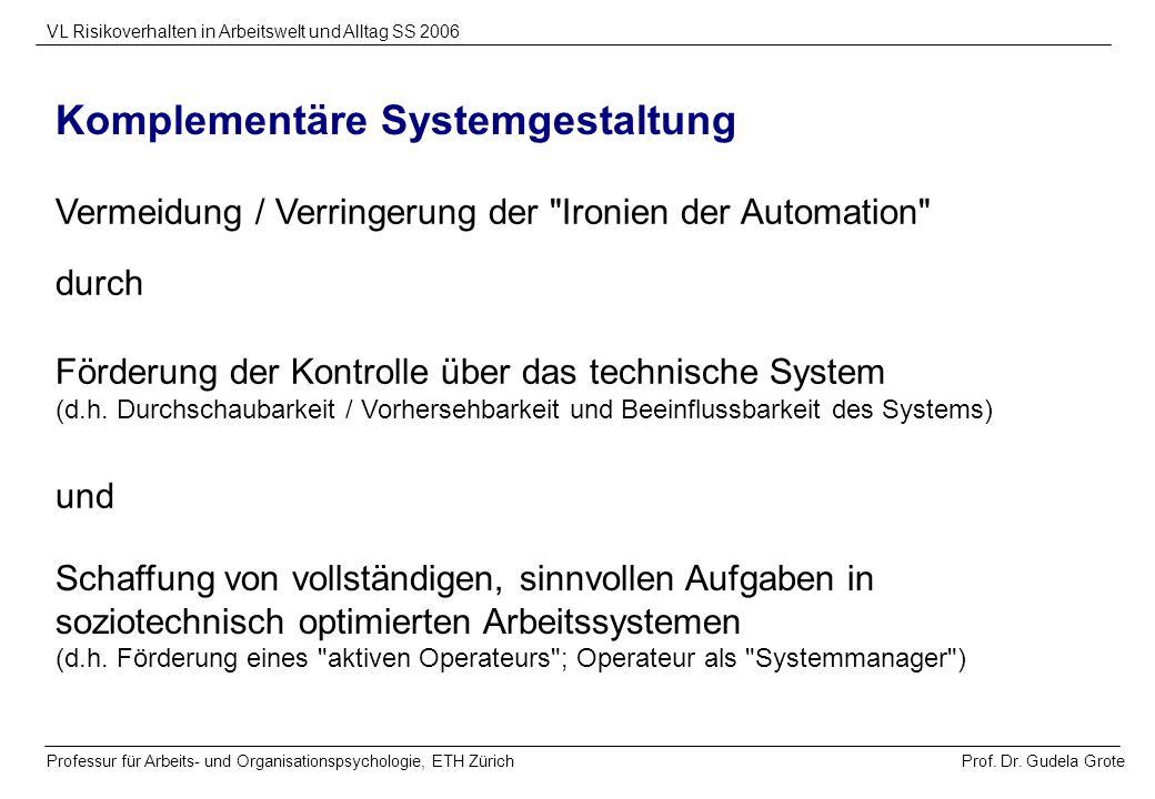 Prof. Dr. Gudela Grote VL Risikoverhalten in Arbeitswelt und Alltag SS 2006 Professur für Arbeits- und Organisationspsychologie, ETH Zürich Komplement