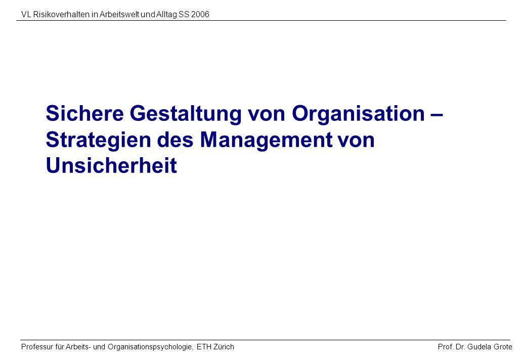 Prof. Dr. Gudela Grote VL Risikoverhalten in Arbeitswelt und Alltag SS 2006 Professur für Arbeits- und Organisationspsychologie, ETH Zürich Sichere Ge