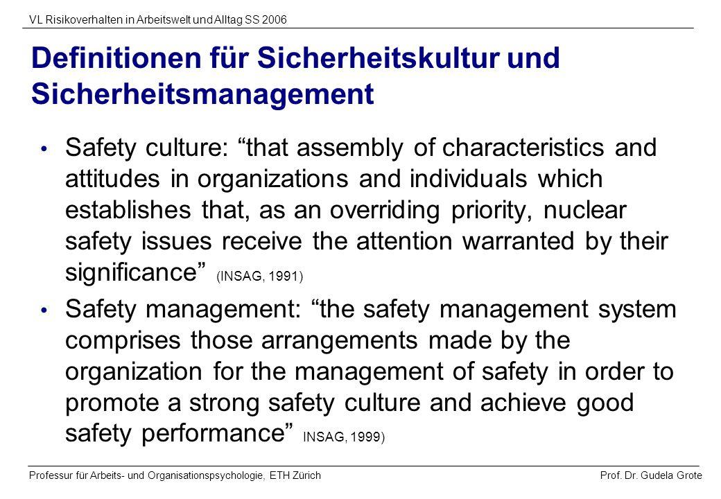 Prof. Dr. Gudela Grote VL Risikoverhalten in Arbeitswelt und Alltag SS 2006 Professur für Arbeits- und Organisationspsychologie, ETH Zürich Definition