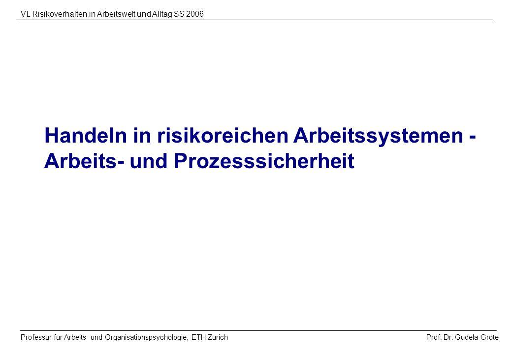 Prof. Dr. Gudela Grote VL Risikoverhalten in Arbeitswelt und Alltag SS 2006 Professur für Arbeits- und Organisationspsychologie, ETH Zürich Handeln in