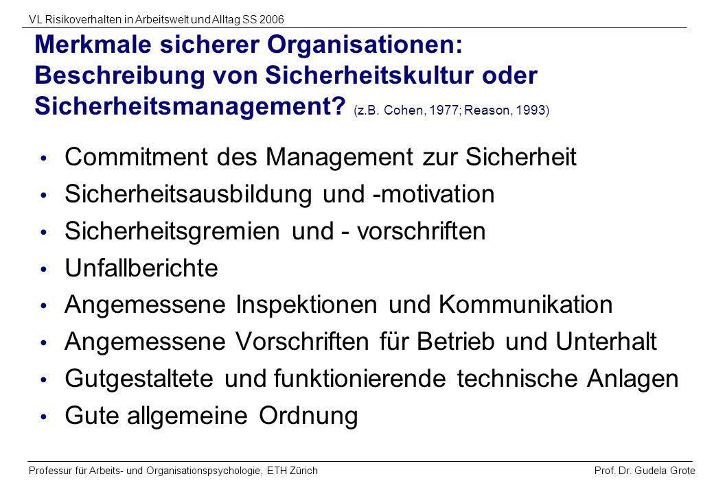 Prof. Dr. Gudela Grote VL Risikoverhalten in Arbeitswelt und Alltag SS 2006 Professur für Arbeits- und Organisationspsychologie, ETH Zürich Merkmale s